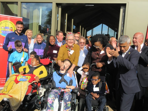 Sadiq Khan, Mayor of London, opened the Ark children's hospice in Byng Road, Barnet, with Rose Charles (centre), and her daughter Sophie, who cut the ribbon at the opening ceremony.