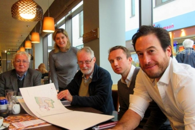 Barnet Society's planning and environment chair, Robin Bishop, inspects Wrenbridge's plans for new houses and offices on the Brake Shear House site. From left to right: Markus Geiger, Barnet Society; Jessica Stewart, Wrenbridge public relations; Robin Bishop; Jeff Wilson, director, Wrenbridge; J-J Lorraine, architect