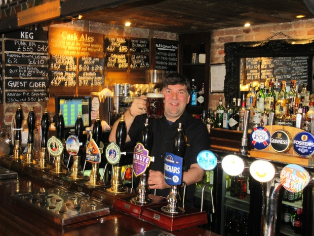 Gary Murphy, landlord of The Mitre, promoting his array of ales and craft beers