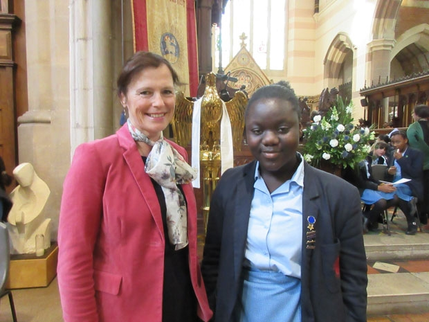 Guest soprano Penelope Martin-Smith with fellow vocalist, year-8 pupil Akua Nkansah at QE Girls' School commemoration day service