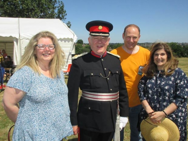 Martin Russell, Deputy Lord Lieutenant for Barnet, was guest of honour at QE Girls' summer fair. (from left to right), Rebecca Hanley, chair of QE Girls' trustees, Martin Russell, Royden Gothelf, chair of QE Girls' Trust, and Violet Walker, headteacher