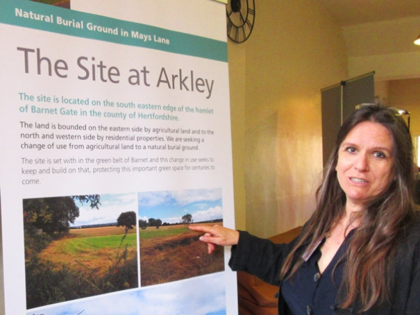 Rosie Inman-Cook, manager of the Natural Death Centre, points to where the first burials would take place