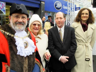 Ready for the opening of the Barnet Christmas Fayre (from left to right), the Mayor of Barnet, Councillor Brian Salinger, the Mayoress, Kate Salinger, Tom Salinger and Theresa Villiers, MP for Chipping Barnet