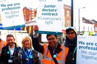 Junior doctors Emily Vaughan and Rithesh Veettil rallying support outside the Spires shopping centre