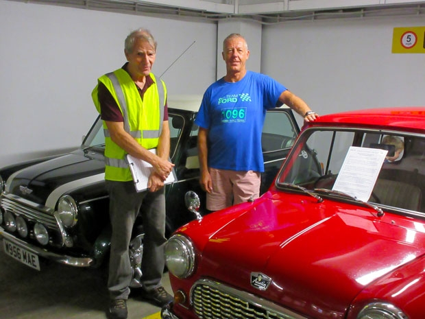 Celebrating sixty years of the mini was one of the attractions at the sixth Barnet Classic Car Show. Chris Nightingale (left) with Derrick Haggerty, owner of a red 1960 Austin Seven mini, one of only around 100 still in working order.