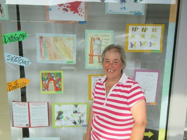 Children isolated at home are being encouraged by Penny Baxter to display their artwork in the Spires