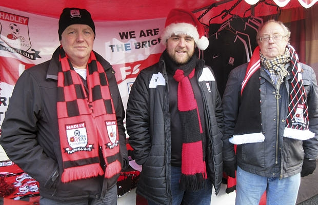 Hadley Football Club's stall at Barnet's the Christmas fair was manned (from left to right) by Phil Baughen, supporter and sponsor; Oliver Deed, club spokesman; and supporter Jonathan Smith