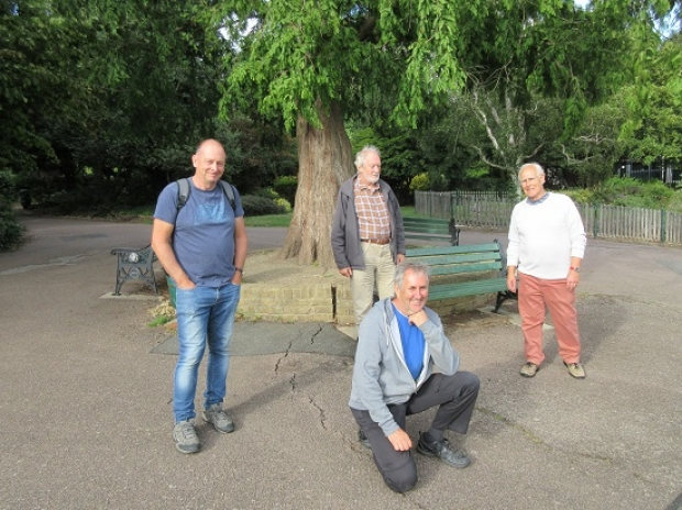 Bird watching enthusiasts reporting back on swift sightings. From left to right, ornithologist David Martens, Robin Bishop, Pete Lyons and Tim Friend