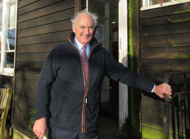 Richard Powles, trustee of the Gwyneth Cowing estate, on the steps of the artists' studio that she had built in 1961 for Barnet Guild of Artists.
