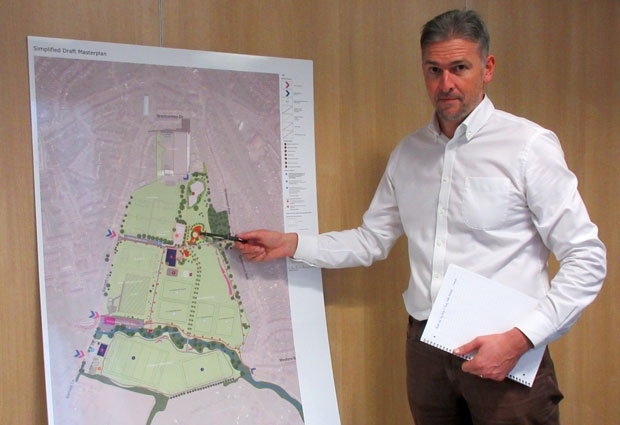 Toby Kingsbury, a director of a sports and leisure consultancy, unveiled the masterplan for a multi-sports attraction at Barnet playing fields in Dollis Valley