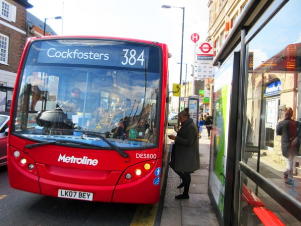 384 at bus stop on High Street