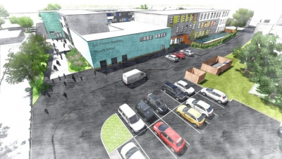 Proposed south facing car park of the Ark Pioneer Academy school