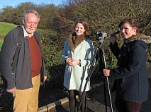 Robin Bishop, with Alex Marshall (centre) and Terri-Ann Williams, looking north across the green belt