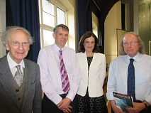 Barnet Society's President Aubrey Rose (left) welcomes Simon Marsh, research officer of the Battlefields Trust, Theresa Villiers, MP, and Howard Simmons, also of the Trust, who is advising Barnet Museum