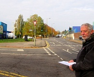 Robin Bishop beside the green space in front of the Old Red Lion public house where two additional trees would complete the row of trees that line Barnet Hill