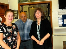 Hannah Brownlow (left), newly-appointed heritage learning consultant for the Battle of Barnet project, with Barnet Museum volunteers Mike Noronha and Hilary Harrison.