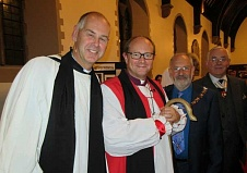 Reverend Andy Rimmer (far left) being congratulated on his institution as the new Vicar of Christ Church by (from left to right), the Bishop of Edmonton, the Reverend Bob Wickham, the Mayor of Barnet, Councillor Brian Sallinger, and Martin Russell, Deputy Lieutenant for Greater London.