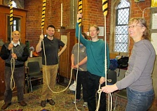 Bell ringers at Barnet parish church take a pause after concentrating on Grandsire Triples