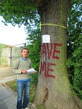 George Tranda beside the 100-year-old oak tree in Whitings Road which Barnet Council intend to fell
