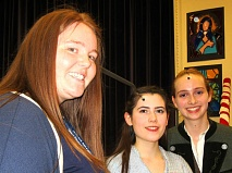 Jennifer Ford, head of drama at Queen Elizabeth's Girl School, with Frankie Stanley (centre) who took lead role as Maria, and Melissa Dieter as Captain Von Trapp